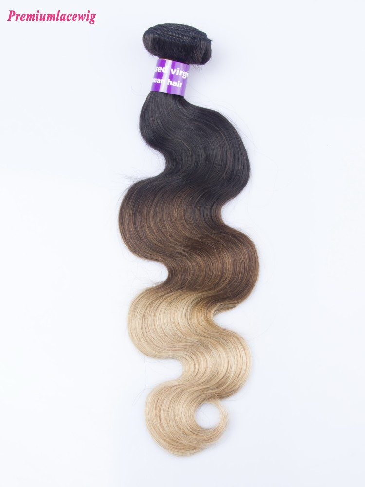 Omber Three Tone Hair 1B/4/27 Body Wave Malaysian Hair Human Hair Bundles 16inch