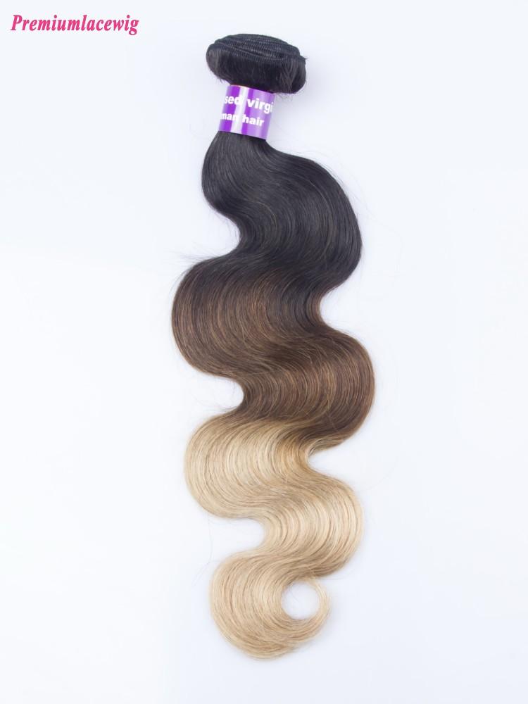 Omber Three Tone Hair 1B/4/27 Body Wave Malaysian Hair Human Hair Bundles 16inch