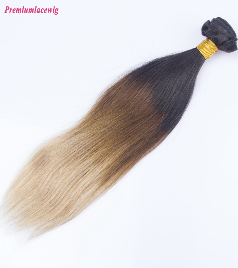 Ombre Three Tone Hair 1B/4/27 Straight Brazilian Human Hair Bundles 16inch