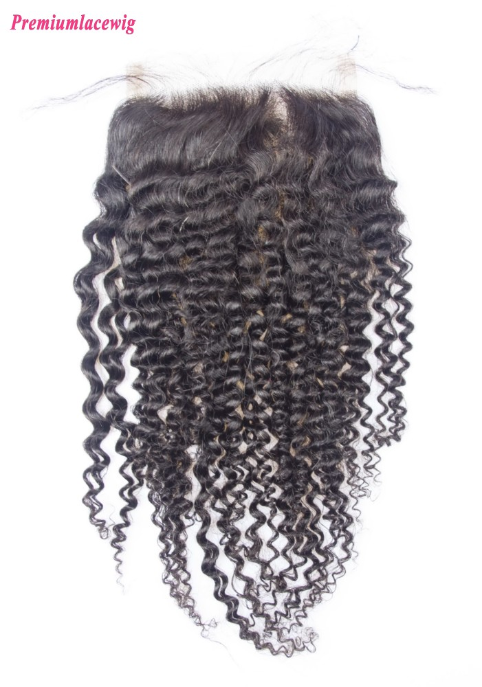 Peruvian Kinky Curly Lace Closure Free Part 16inch