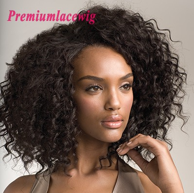 Premium Full Lace Human Hair Wigs Brazilian Hair Curly 14inch