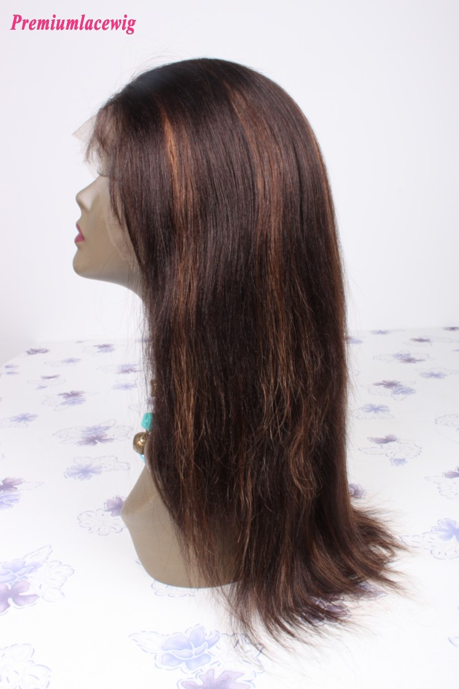 Straight Brazilian Virgin Hair Color 2 highlite 30 Full Lace Human Hair Wigs 14inch