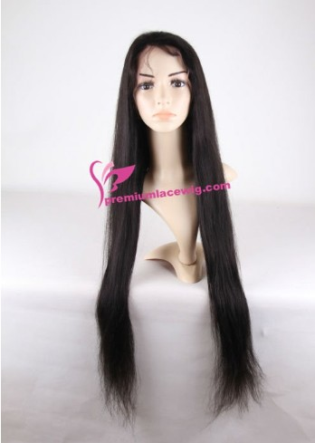 Super Long 30 Inch Color 1b Straight Human Hair Full Lace Wig