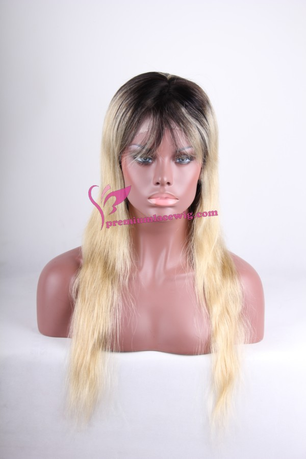 virgin blond root color hair lace wig PWC052