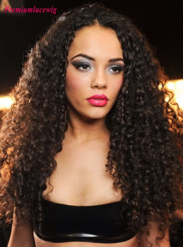 Afro Curly Brazilian Full Lace Human Hair Wigs 20inch