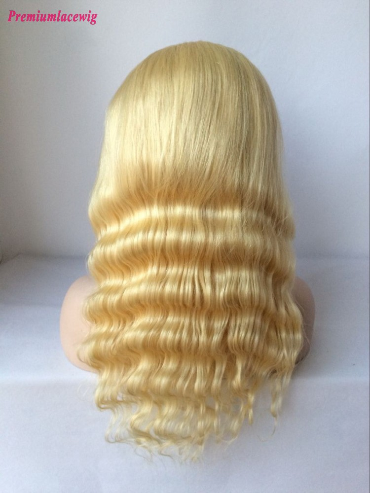 Brazilian Blonde Full Lace Wig Deep Wave Color 613 16inch