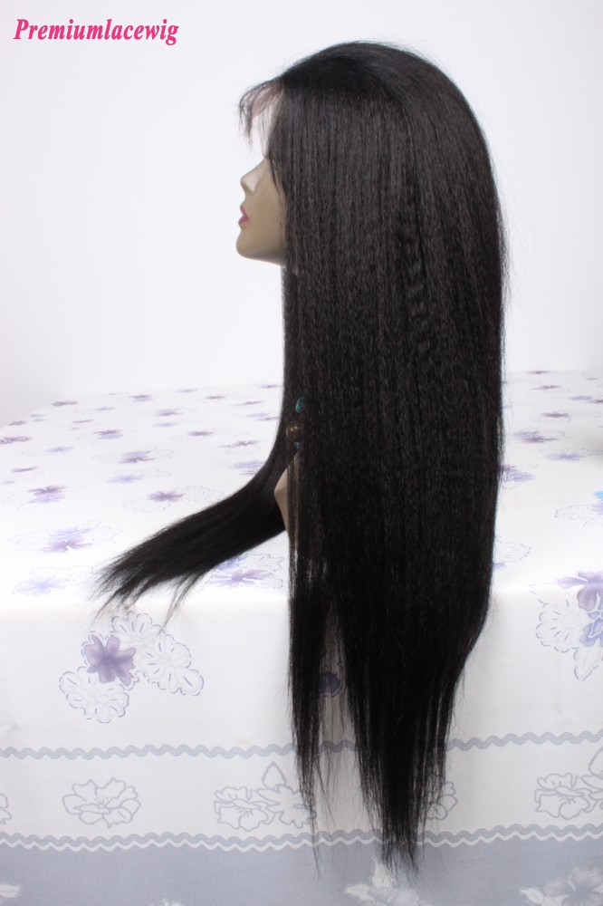 Brazilian Virgin Hair Kinky Straight Full Lace Human Hair Wigs Color 1 24inch