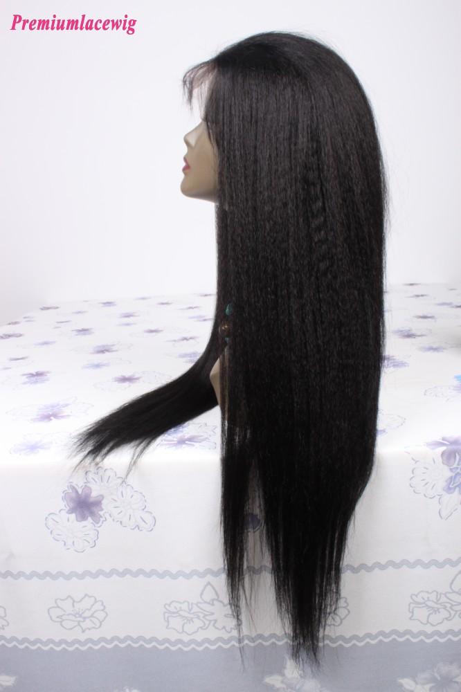 Brazilian Virgin Hair Kinky Straight Full Lace Human Hair Wigs Color 1 24inch
