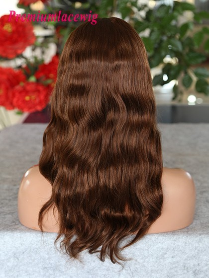 Color 4 Full Lace Wig Peruvian Virgin Hair Natural Wave 14inch