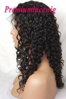 Indian Virgin Hair Full Lace Human Hair Wigs Water Wave 16inch