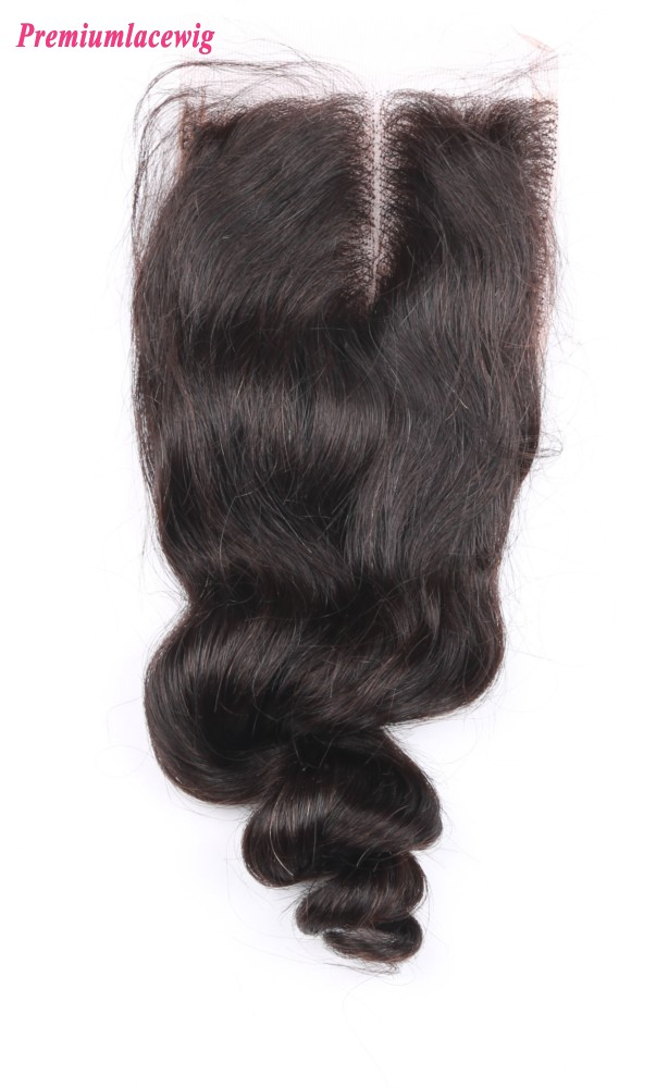 Lace Closure Brazilian Loose Wave Hair Middle Part 14inch