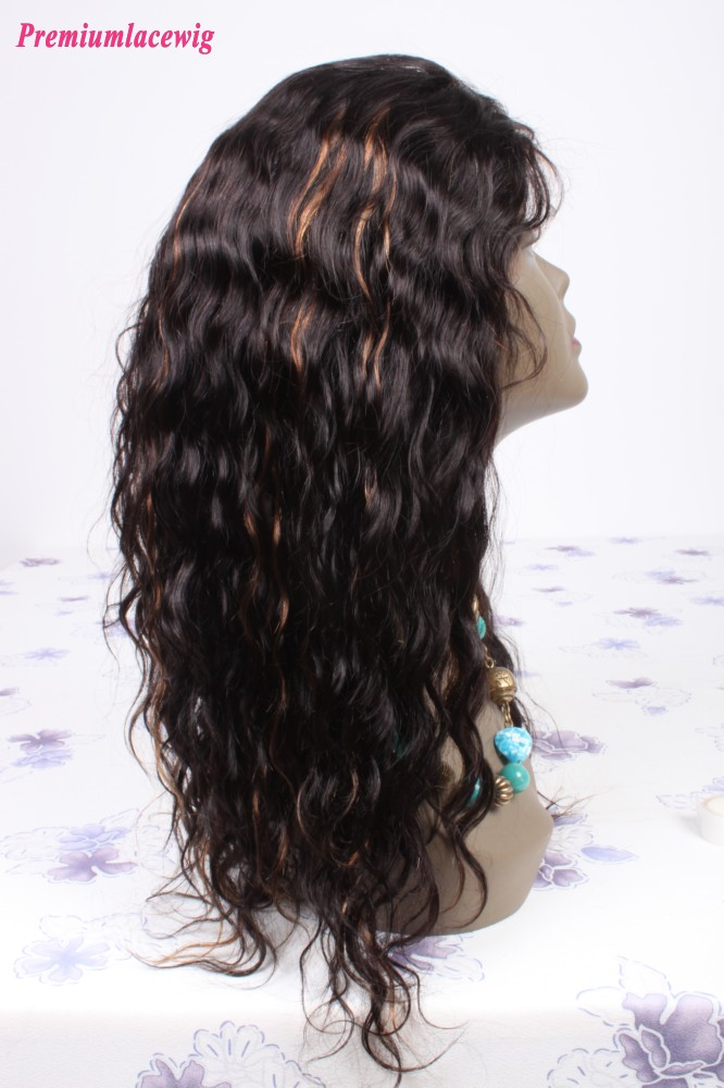 Loose Wave Chinese Full Lace Human Hair Wigs Color 1B highlite 30 18inch