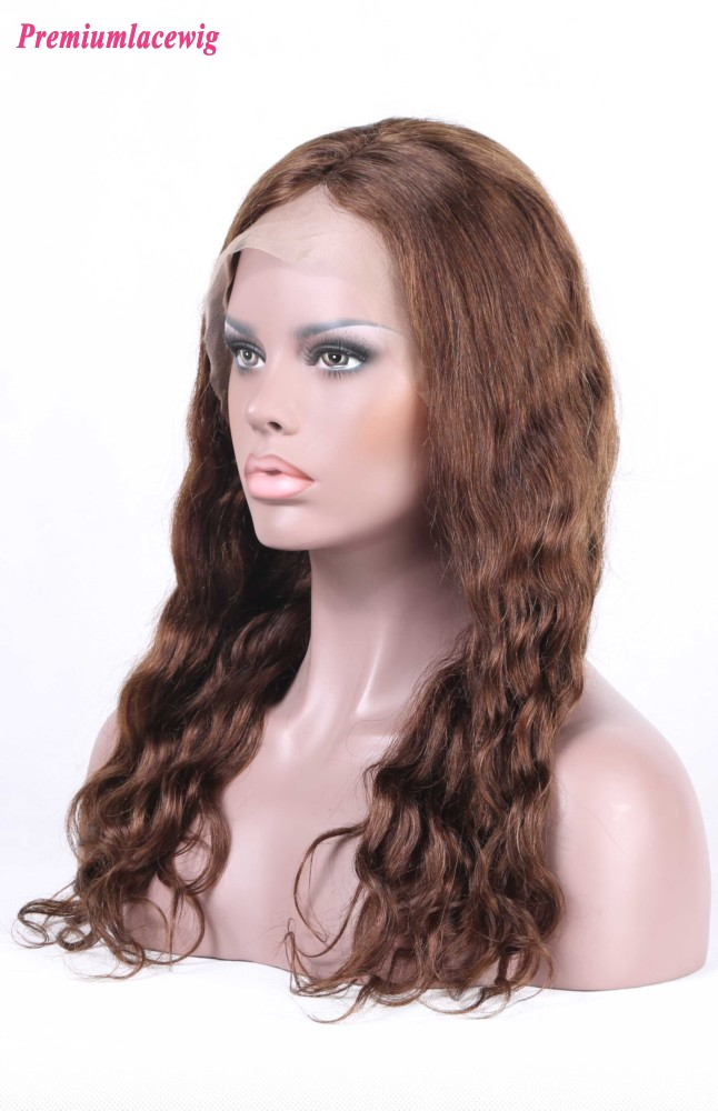 Malaysian Silk Top Lace Front Wig Loose Deep Wave Hair Color 4 16inch