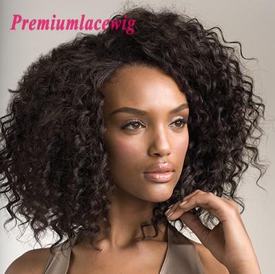 Premium Full Lace Human Hair Wigs Brazilian Hair Curly 14inch