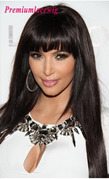 Premium Silky Straight Full Lace Wig Brazilian Hair 18inch with Bang