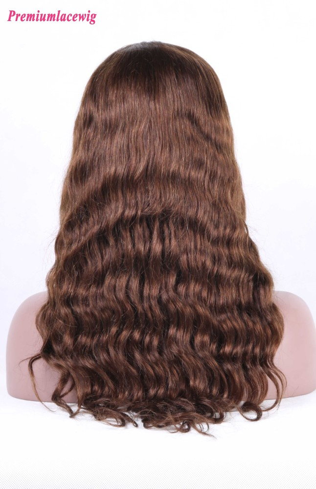 Silk Top Full Lace Wig Malaysian Loose Deep Wave Hair Color4 16inch