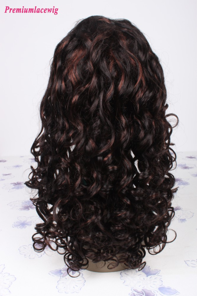 spirl curl Brazilian Full Lace Wig Color 1B highlite 33 18inch