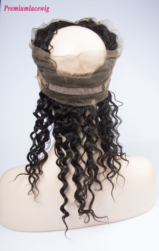 Wholesale Deep Wave 360 Lace Frontal With Adjustable Strap Malaysian Hair 16inch