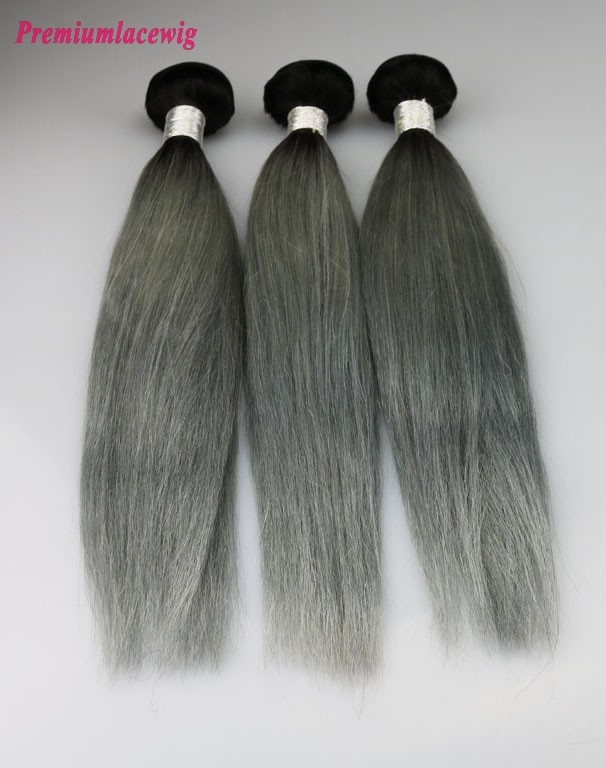 1pc Brazilian Hair Straight Hair Bundles Color 1B-Grey 16inch
