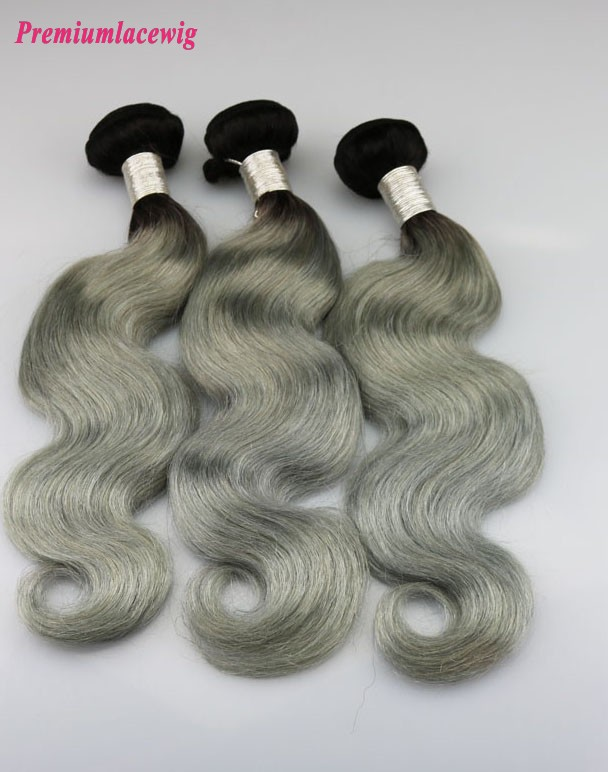 1pc Body Wave Hair Bundles Brazilian Hair Color 1B-Grey 14inch