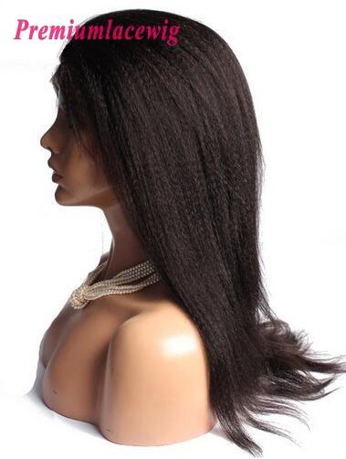 Italian Yaki Malaysian Hair 360 Lace Wigs Pre Plucked 18inch