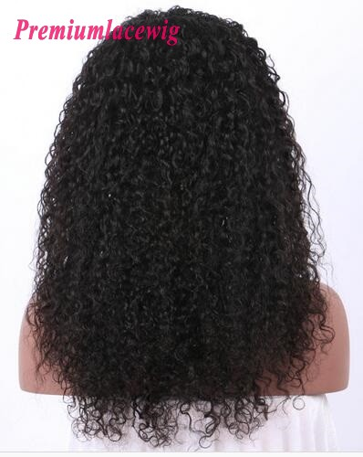 150% Density Kinky Curly Peruvian Hair 360 Lace Frontal Wigs Pre Plucked 18inch