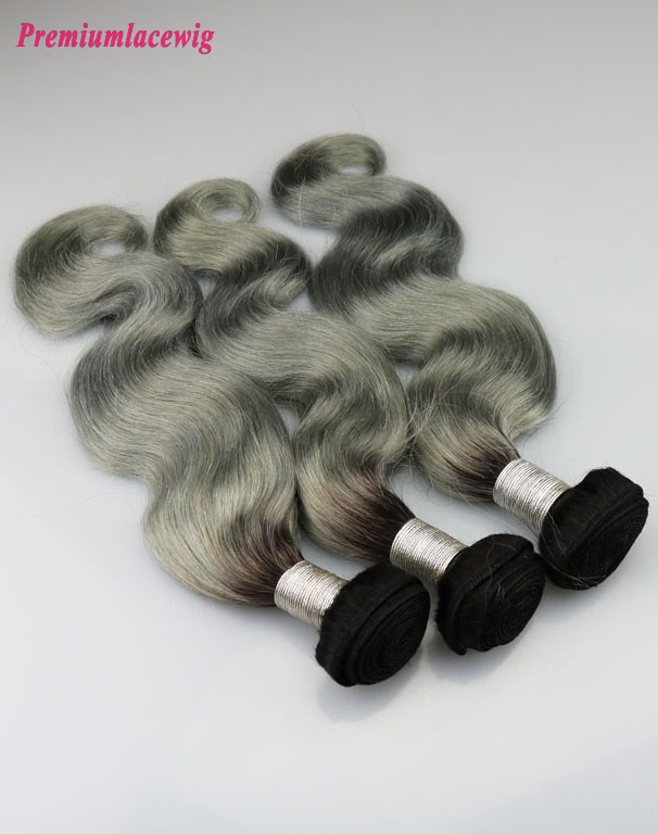Peruvian Body Wave Hair Bundles 1 Bundle Color 1B-Grey 14inch