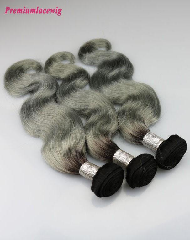 Peruvian Body Wave Hair Bundles 1 Bundle Color 1B-Grey 14inch
