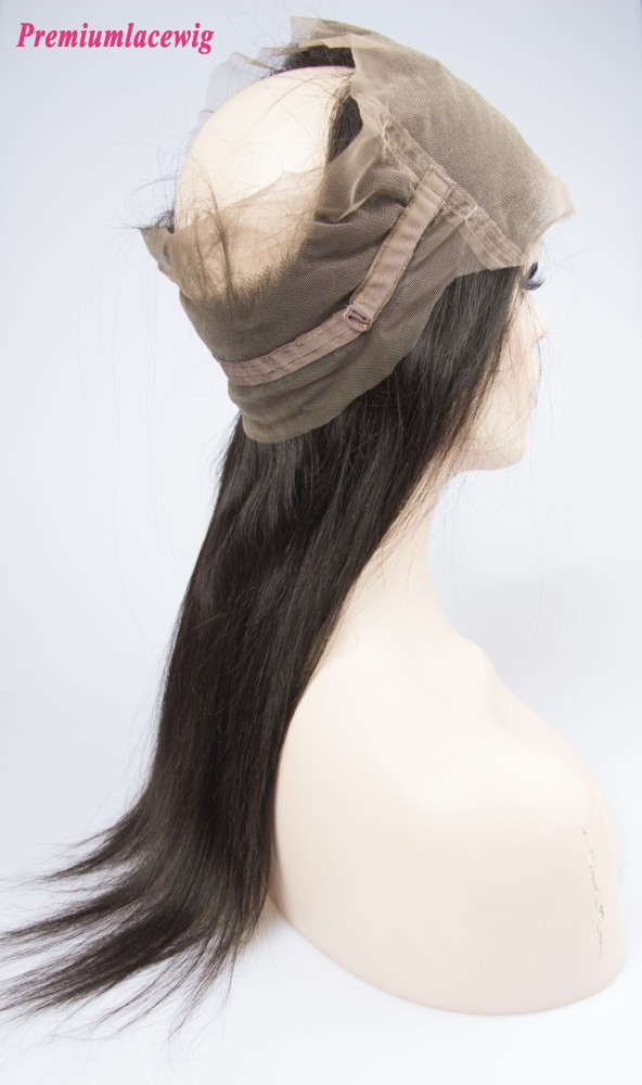 360 Lace Frontal With Adjustable Strap Peruvian Hair Straight 16inch