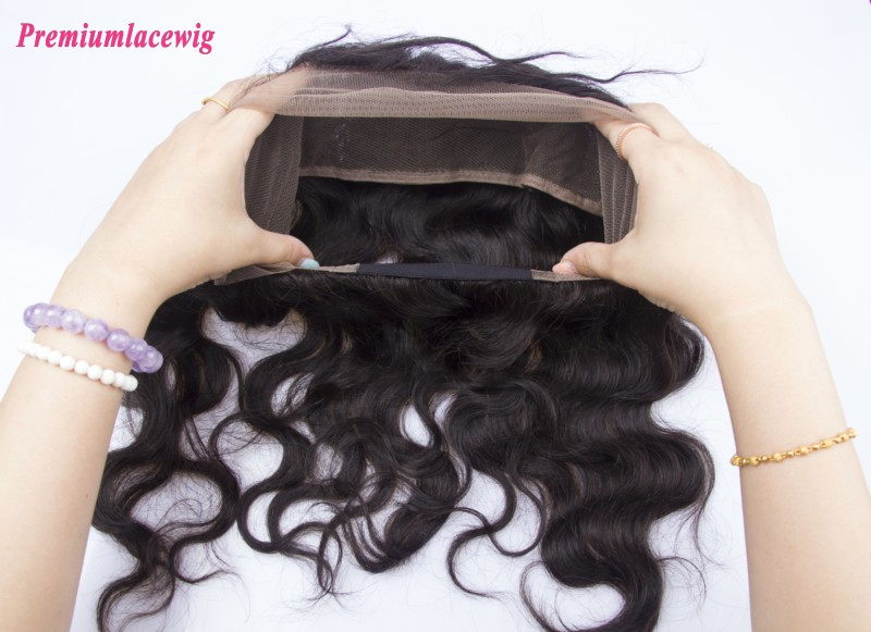Body Wave 360 Degree Lace Frontal with elastic band Brazilian Hair 16inch