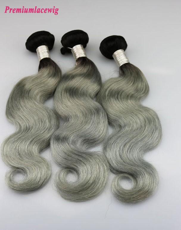 1pc Body Wave Hair Bundles Brazilian Hair Color 1B-Grey 14inch