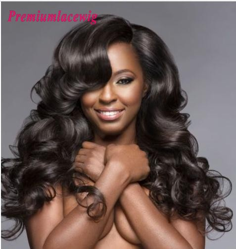 Cheap Full Lace Human Hair Wigs Loose Deep Wave Peruvian Hair 14inch