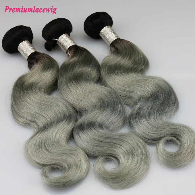 Color 1B-Grey Hair Bundles 1pc/lot Malaysian Body Wave Hair 16inch