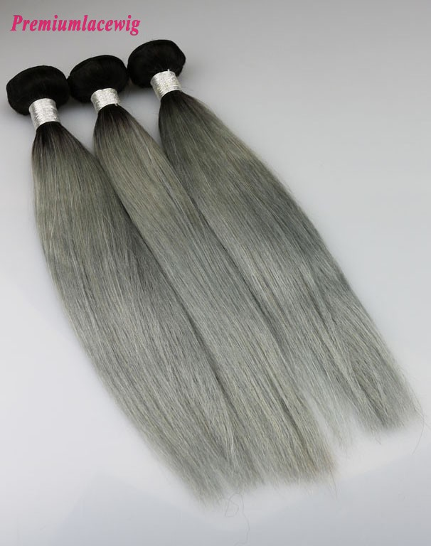 Straight Hair Bundles 1pc Peruvian Hair Color 1B-Grey 16inch