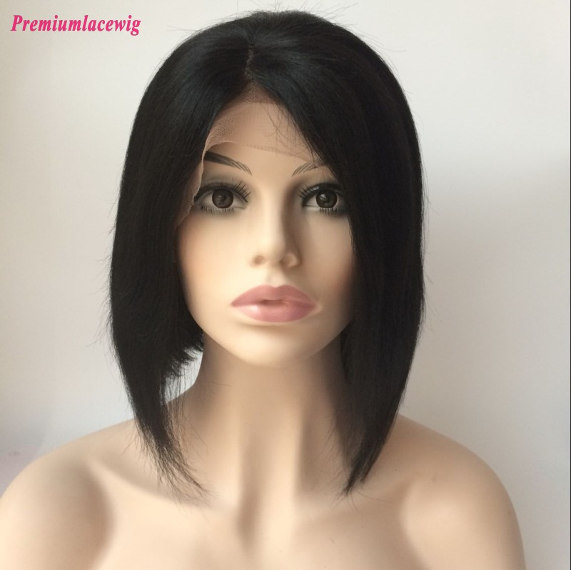 Bob Brazilian Lace Front Wig Straight Natural Color 12inch