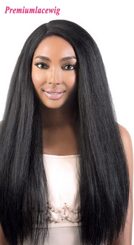 Italian Yaki Straight Human Hair lace Front Wig 24inch 150% Density