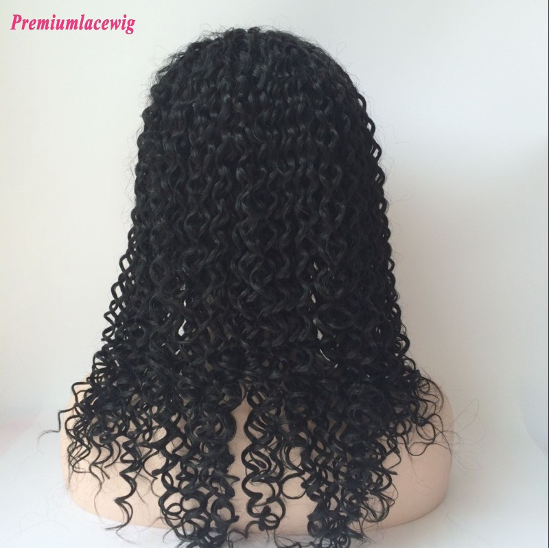 Premiun Lace Front Wig Mongolian Curly Human Hair Natural Color 16inch