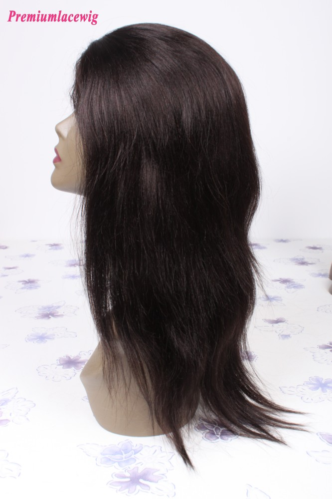 Straight Lace Front Wig Brazilian Hair Natural Color 14inch