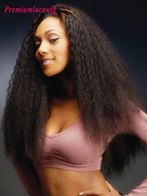 Kinky Straight Full Lace Wig Peruvian Human Hair 22inch