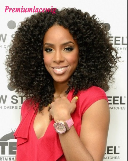 Afro Kinky Curly Lace Front Wig Brazilian Hair 16inch 150% Density