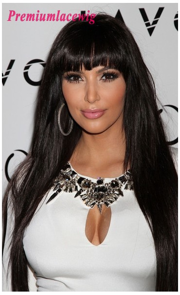 Indian Remy Full Lace Human Hair Wig Straight with Bang 24inch
