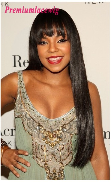 Silky Straight Lace Front Wig With Bang Indian Hair 24inch