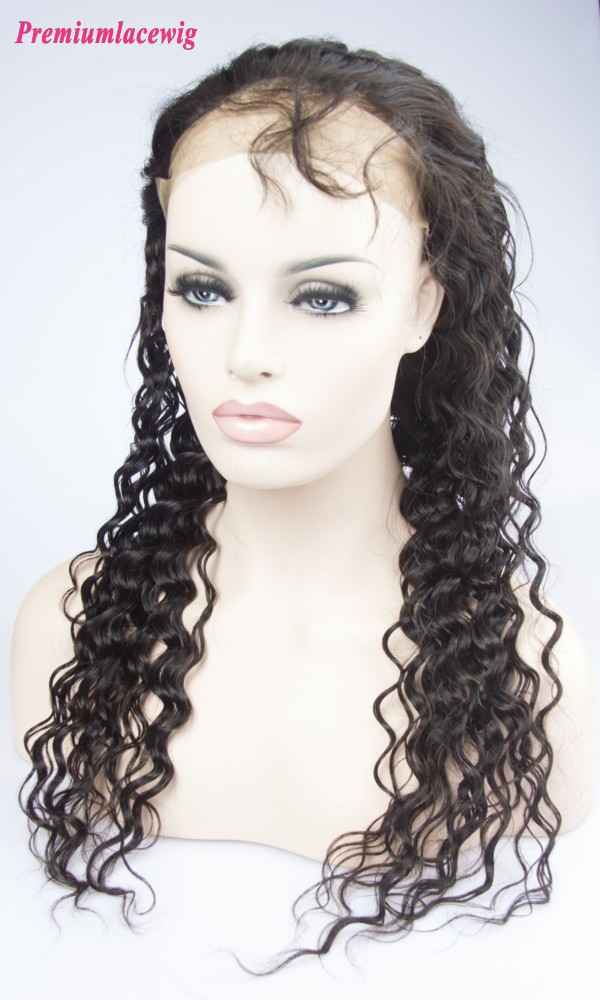 360 Lace Front Wig Pre Plucked Malaysian Deep Wave Hair 16inch