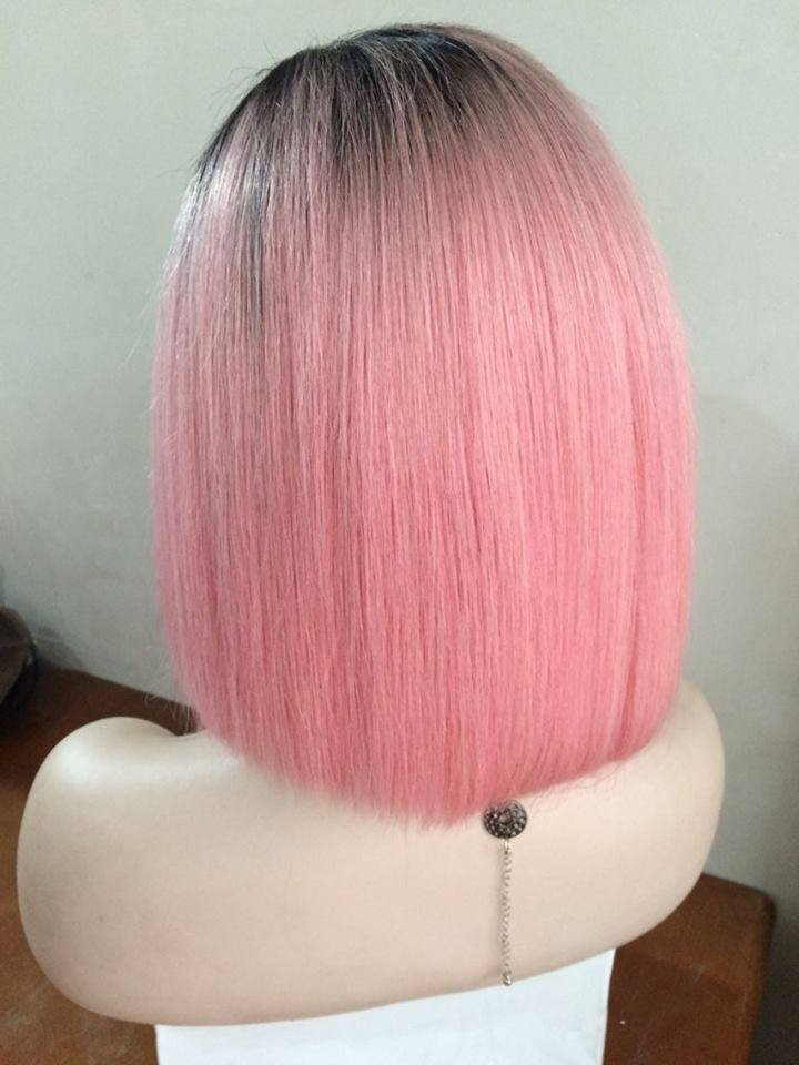 Brazilian Premium Lace Front Wig pink color wigs bob style 12inch