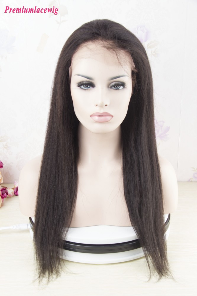 Light Yaki 360 Lace Front Wig Brazilian Hair 16inch Instock