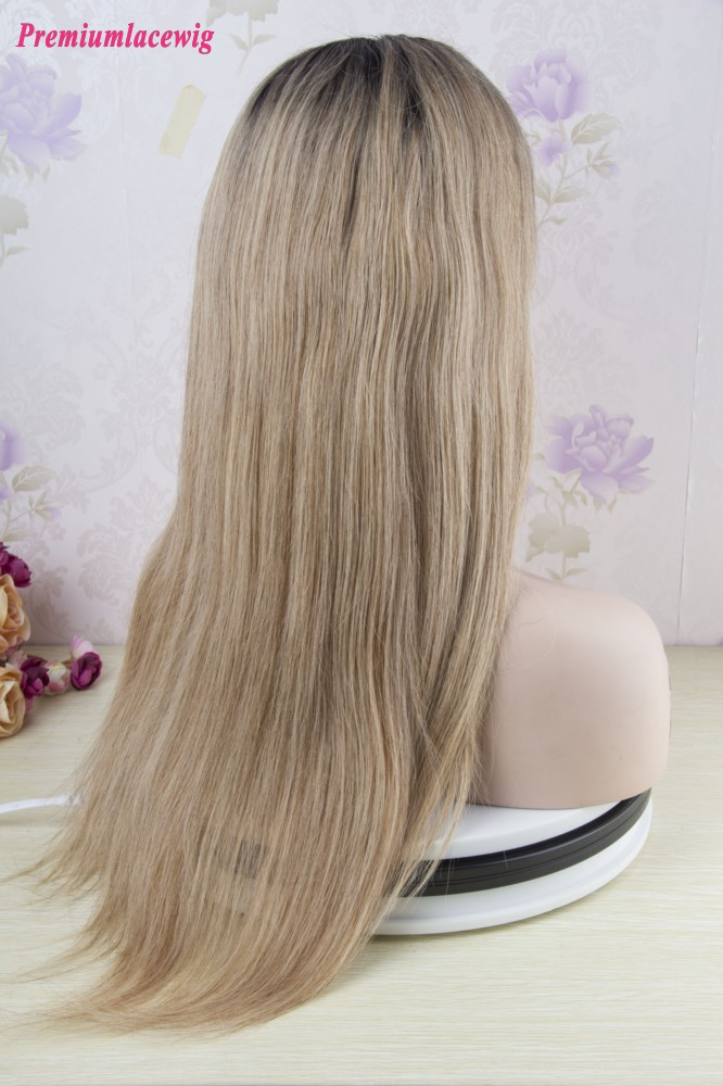 Root Color 1b 27 Full Lace Wig Peruvian Straight Hair 18inch