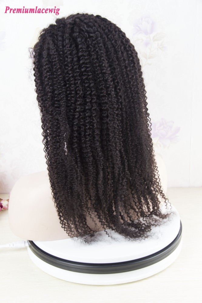 Afro Kinky Curly Indian Hair Full Lace Wig Natural Color 18inch