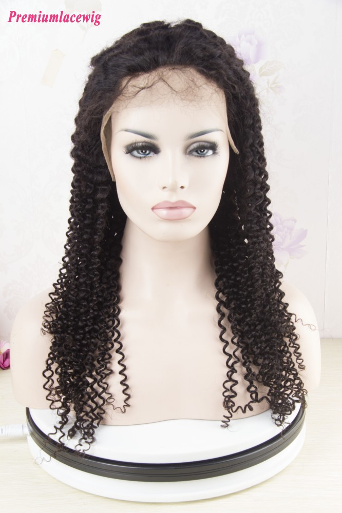 Brazilian Italian Curly Hair 360 Lace Front Wig Natural Color 18inch