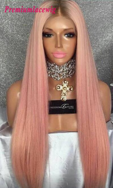 Buy Brazilian lace front wig pink color straight human hair wig 24inch