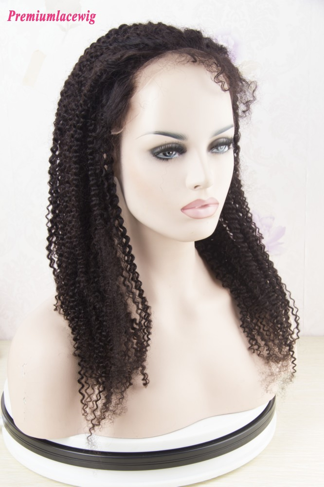 Peruvian Human Hair 360 Lace Wig Afro Kinky Curly 16inch